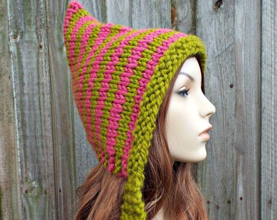 Knit Hat Womens Hat - Pixie Hat Lemongrass Green and Raspberry Pink Knit Hat - Green Hat Green Pixie Hat Womens Accessories Winter Hat