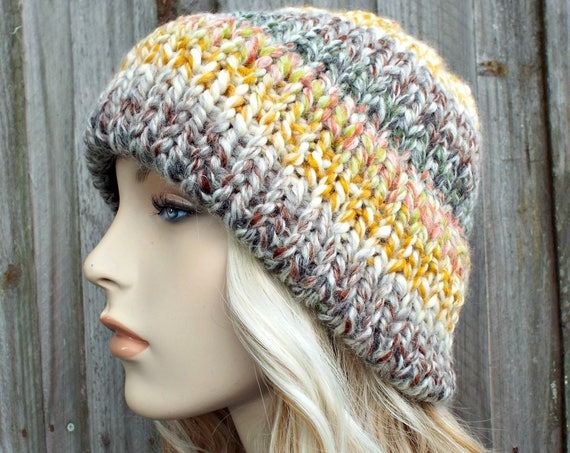 Mixed Color Womens Double Thick Brim Knit Hat Warm Thick Winter Beanie - Coney Island Rainbow Hat Rainbow Beanie - Delphine