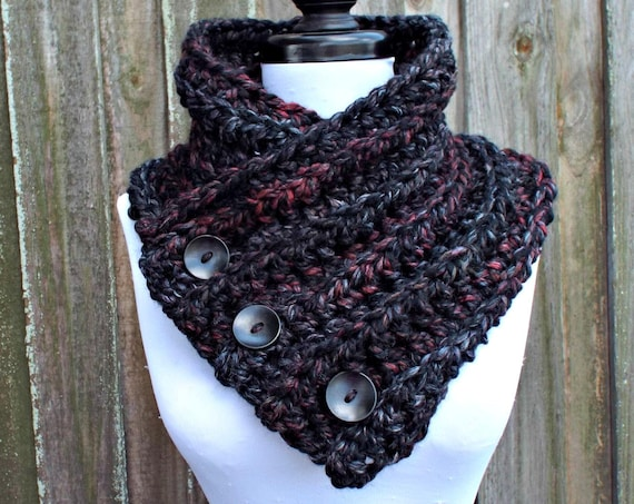 Crochet Cowl - Wellington Cowl in Blackstone Black Charcoal Grey Cowl - Grey Cowl Grey Scarf Black Cowl Black Scarf Womens Accessories
