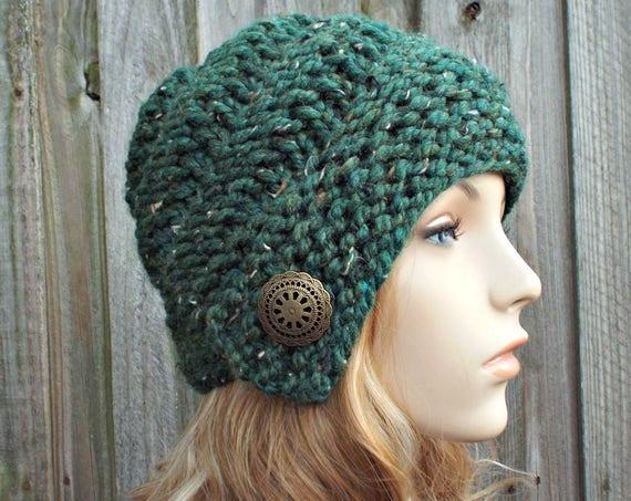 Chunky Knit Hat Womens Hat - Hybrid Swirl Cloche Hat Tweed Green Knit Hat Green Hat Green Beanie Green Cloche
