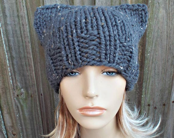 Knit Hat Womens Hat - Graphite Grey Cat Beanie - Grey Hat Grey Beanie - Winter Hat - Pussyhat Pussy Hat Knit Accessories