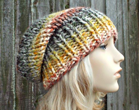 Womens Mens Chunky Knit Hat Fall Fashion Warm Winter Hat Knit Accessories Adaline Slouchy Beanie Coney Island Rainbow - READY TO SHIP