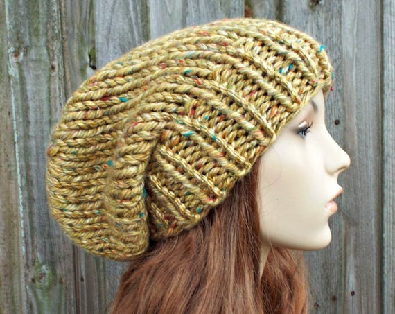 Chunky Knit Hat Women Fall Fashion Warm Winter Hat Knit Accessories - Slouchy Beanie - Gold Yellow Hat Yellow Beanie - READY TO SHIP