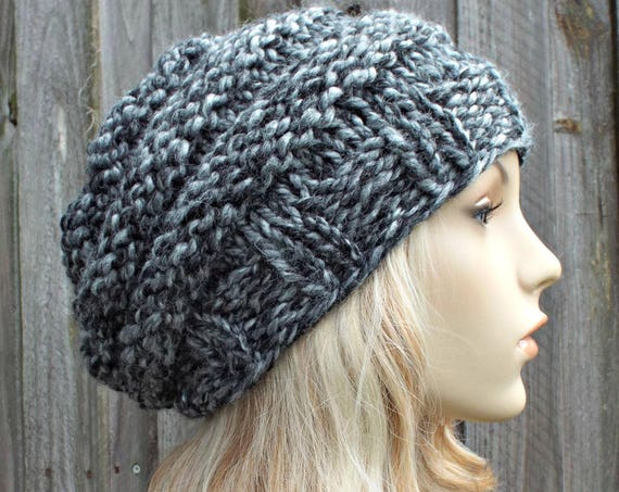 Grey Womens Hat - Original Beehive Beret Hat in Licorice - Grey Hat Grey Beret Grey Beanie Warm Winter Hat - READY TO SHIP