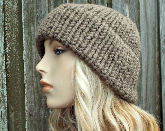 Taupe Brown Mens Or Womens Double Thick Brim Knit Hat - Warm Thick Winter Beanie - Brown Hat Brown Beanie - Delphine - READY TO SHIP