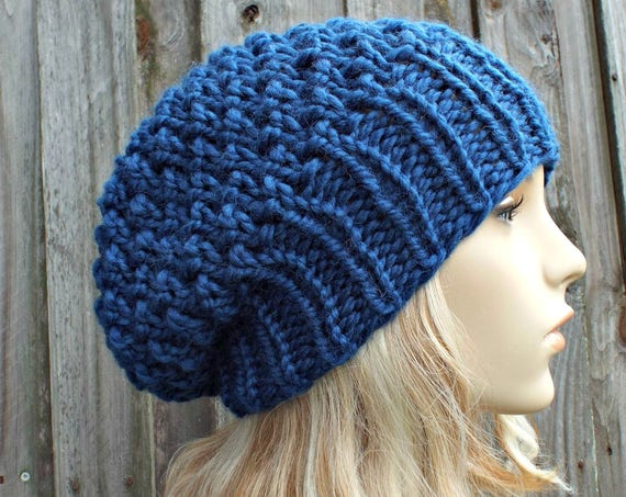 Knit Hat Womens Chunky Knit Hat - Warm Winter Hat Knit Accessories - Honeycomb Slouchy Knit Hat - Sapphire Blue Beanie