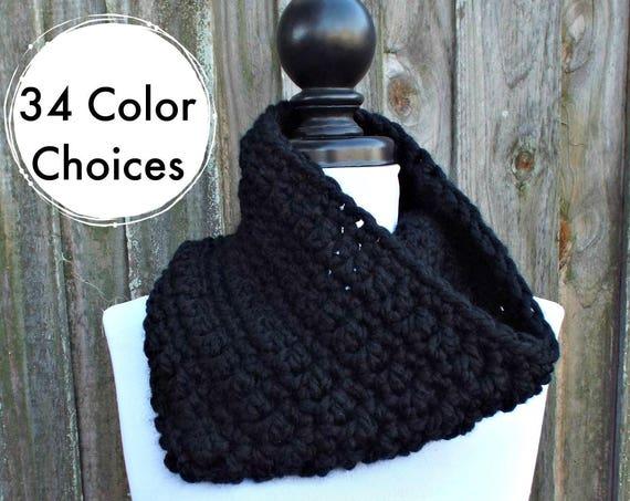 Black Cowl Black Scarf Black Circle Scarf - Black Crochet Scarf Black Womens Scarf Black Mens Scarf - Warm Winter Cowl