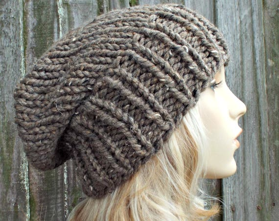 Womens Mens Chunky Knit Hat Fall Fashion Warm Winter Hat Knit Accessories - Adaline Slouchy Beanie in Barley Brown Tweed