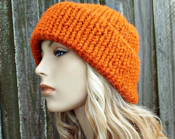 Pumpkin Orange Mens Or Womens Double Thick Brim Knit Hat - Warm Winter Beanie - Hunters Hat Orange Hat Orange Beanie - READY TO SHIP