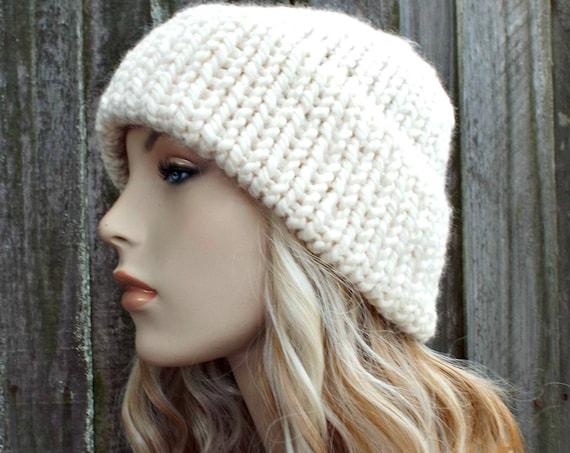 Cream Mens Or Womens Double Thick Brim Knit Hat - Warm Thick Winter Beanie - Cream Hat Cream Beanie - Delphine