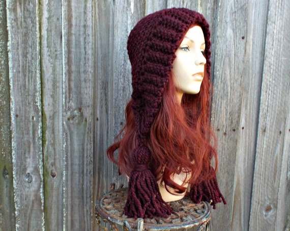 Womens Crochet Hat Womens Hat Crochet Hood Tassel Hat in Claret Wine Red Crochet Hat - Red Hat Red Hood Womens