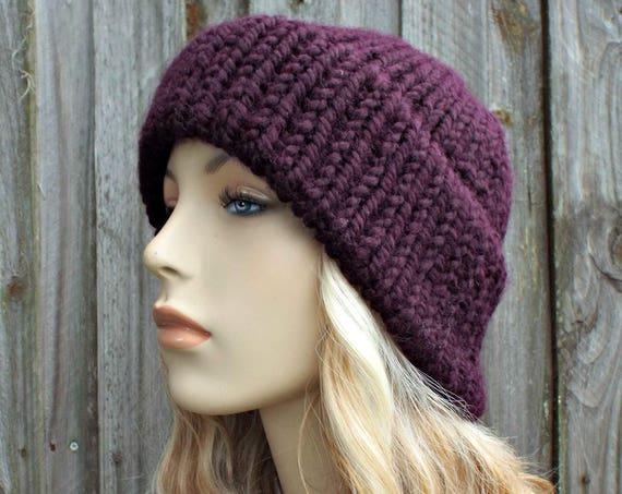 Eggplant Purple Mens Or Womens Double Thick Brim Knit Hat - Warm Winter Beanie - Purple Hat Purple Beanie - Delphine - READY TO SHIP