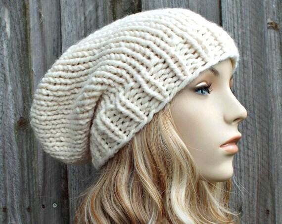 Cream Slouchy Beanie Knit Womens Hat Mens Hat - Toque Beanie Warm Winter Hat