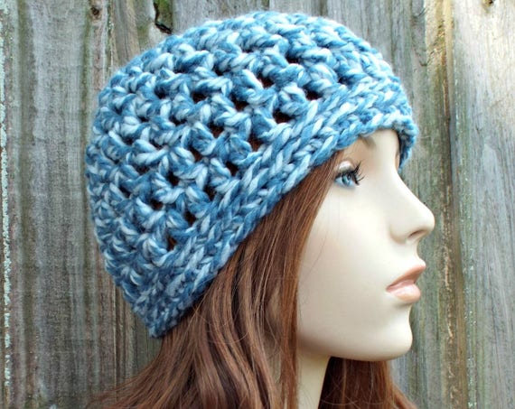 Peppermint Light Mixed Blue Beanie Blue Hat - Crochet Womens Hat Blue Mens Hat - Blue Womens Hat Warm Winter Hat - READY TO SHIP