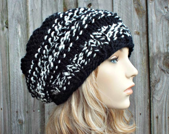 Black and White Knit Hat Black Womens Hat - Original Beehive Beret - Black Hat Black Beret Black Beanie Winter Hat