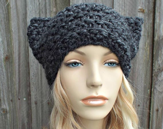 Charcoal Grey Cat Hat - Thermal Crochet Hat Women Warm Winter Beanie - Grey Hat Grey Beanie - Pussyhat Pussy Hat