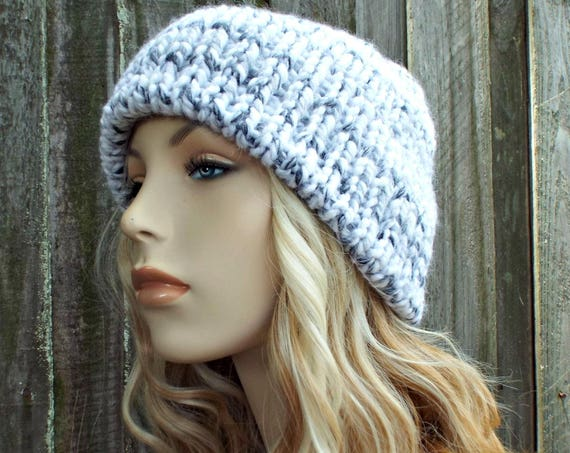 White Marble Mens Or Womens Double Thick Brim Knit Hat - Warm Thick Winter Beanie - White Hat White Beanie - Delphine - READY TO SHIP