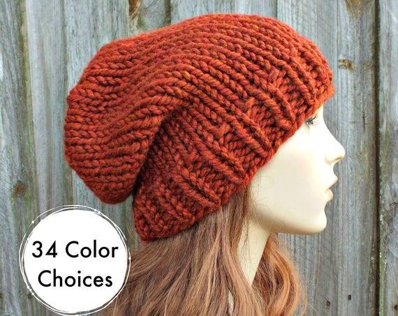 Chunky Knit Hat Womens Hat Slouchy Beanie Mens Hat Slouchy Hat - Toque Beanie Spice Burnt Orange Hat - Orange Beanie