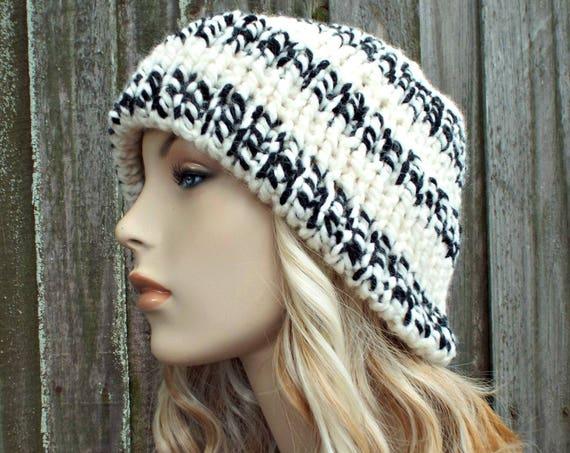 Cream Black Mens Or Womens Double Thick Brim Knit Hat - Warm Thick Winter Beanie - Cream Hat Cream Beanie - Delphine - READY TO SHIP
