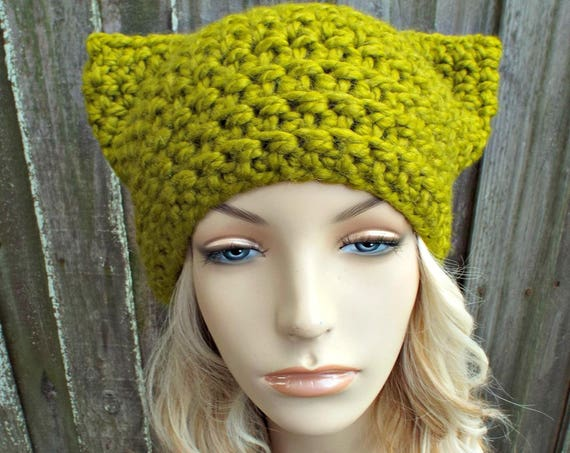 Lemongrass Green Cat Hat - Thermal Crochet Womens Warm Winter Beanie - Green Hat Green Beanie - Pussyhat Pussy Hat - READY TO SHIP