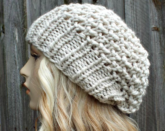 Womens Chunky Knit Hat Fall Fashion Warm Winter Hat Knit Accessories - Honeycomb Slouchy Beanie - Mushroom Cream Hat - READY TO SHIP
