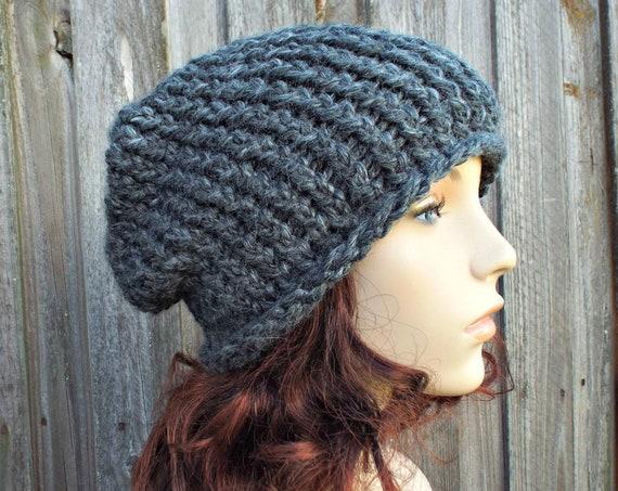 Grey Chunky Knit Hat Womens Warm Winter Hat Knit Accessories - Gertrude Slouchy Beanie - Granite Grey Hat Grey Beanie - READY TO SHIP