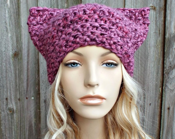 Pink Cat Hat - Thermal Crochet Womens Winter Beanie in Strawberry Mixed Pink - Pink Pussyhat Project Pink Pussy Hat - READY TO SHIP