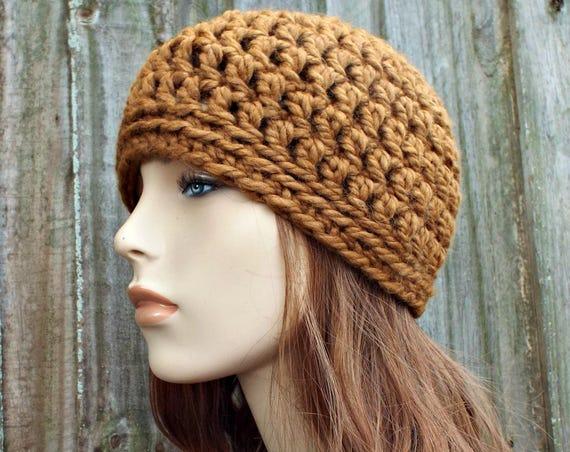 Hazelnut Brown Beanie - Brown Crochet Hat Brown Womens Hat Brown Mens Hat - Warm Winter Hat Brown Hat - READY TO SHIP