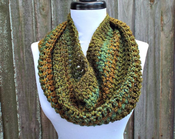 Crocheted Cowl Scarf - Hamptons Cowl Scarf in Ozark Forest Green - Green Scarf Green Cowl Womens Accessories - READY TO SHIP