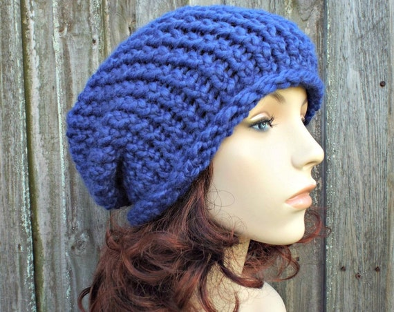 Blue Chunky Knit Hat Womens Warm Winter Hat Knit Accessories - Gertrude Slouchy Beanie - Cobalt Blue Hat Blue Beanie - READY TO SHIP
