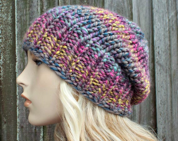 Womens Chunky Knit Hat Fall Fashion Warm Winter Hat Knit Accessories Adaline Slouchy Beanie in Astroland Pink Purple - READY TO SHIP