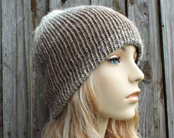 Double Knit Hat Cream and Taupe Womens Beanie, Mens Beanie, Reversible Thick Winter Hat - 19 Colors Choices