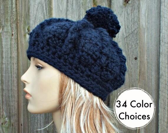 Crochet Hat Womens Hat - Oversized Monarch Ribbed Beret Navy Pom Pom Hat - Navy Hat Navy Beret Navy Beanie
