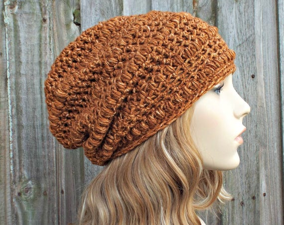 Crochet Hat Womens Hat - Penelope Puff Stitch Slouchy Beanie Hat in Top Stitch Burnt Orange Beanie Orange Hat