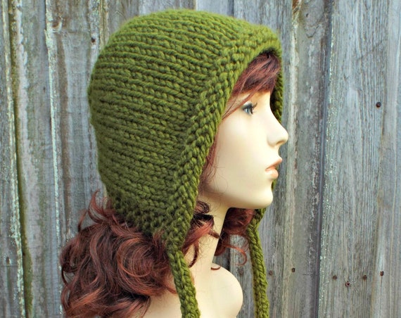 Olive Green Knit Hat - Aviator Adult Bonnet - Hood with Ties - Womens Winter Hat Olive Hood Olive Hat Green Hat