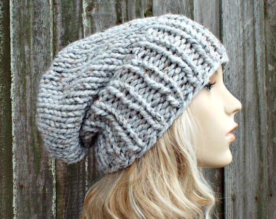 Womens Mens Chunky Knit Hat Fall Fashion Warm Winter Hat Knit Accessories - Adaline Slouchy Beanie in Marble Grey Tweed