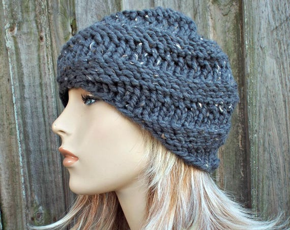 Chunky Knit Hat Grey Womens Hat Grey Mens Hat - Swirl Beanie Graphite Tweed Grey Knit Hat - Grey Hat Grey Beanie - READY TO SHIP