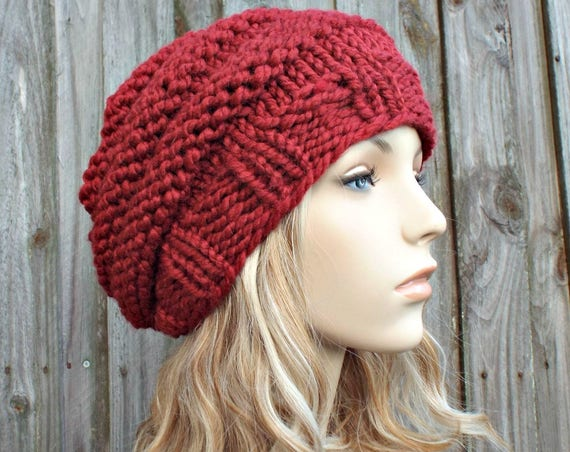 Knit Hat Womens Hat Original Beehive Beret Hat in Russet Red Knit Hat Red Hat Red Beret Red Beanie Womens Accessories - READY TO SHIP