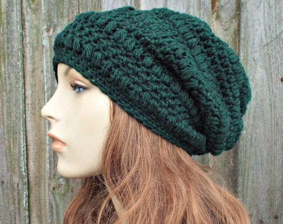 Hunter Green Crochet Hat Womens Hat - Penelope Puff Stitch Slouchy Beanie Hat - Green Beanie Green Hat Wool Hat