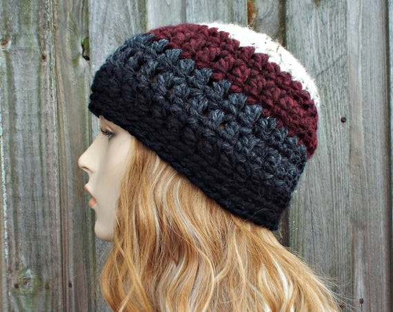 Ombre Hat Color Block Oatmeal Claret Grey Black Beanie - Crochet Womens Hat Mens Hat - Warm Winter Hat - Grey Hat Black Hat