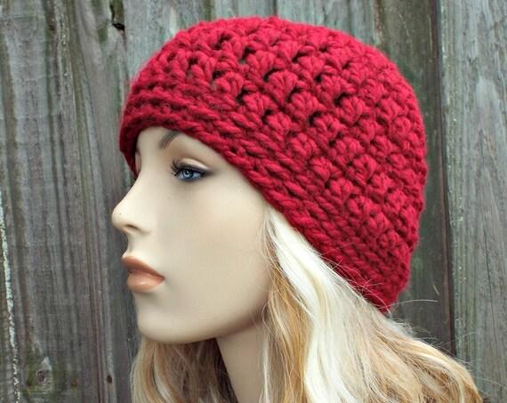 Cranberry Red Beanie - Crochet Womens Hat Mens Hat - Warm Winter Hat - Red Hat Red Womens Hat Red Mens Hat Red Crochet Hat