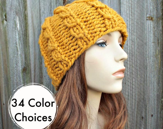 Chunky Knit Hat Mens Hat Womens Hat - Cable Beanie in Yellow Mustard Knit Hat - Mustard Hat Mustard Beanie Winter Hat