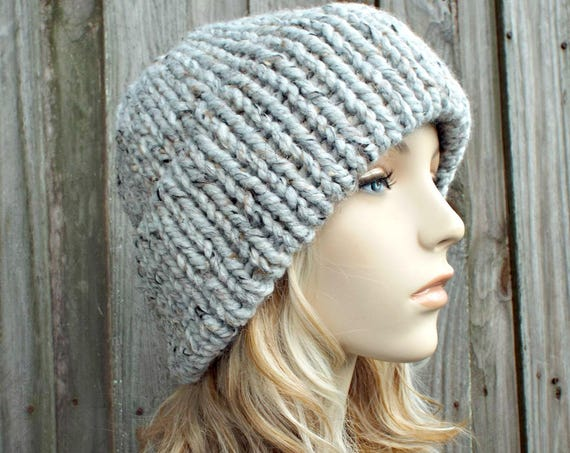 Double Thick Brim Knit Hat - Womens Hat Grey Tweed Beanie - Warm Hat Thick Winter Beanie - Grey Hat Grey Beanie - READY TO SHIP