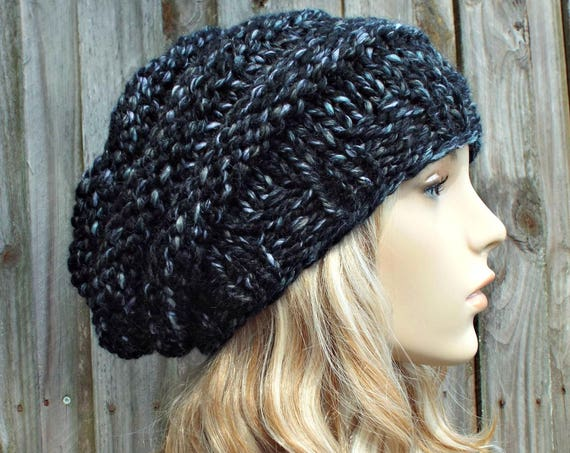 Metropolis Black and White Knit Hat Black Womens Hat - Original Beehive Beret - Black Hat Black Beret Black Beanie Winter Hat