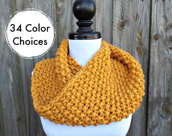 Chunky Knit Cowl Scarf - Mobius Cowl Mustard Yellow Cowl - Mustard Cowl Mustard Scarf Yellow Cowl Yellow Scarf
