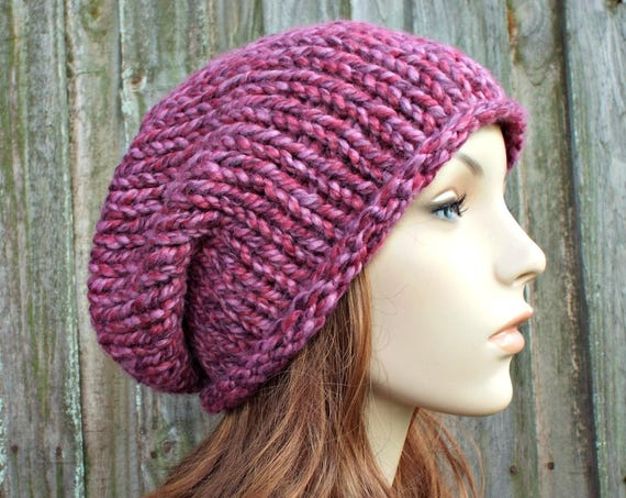 Chunky Knit Hat Womens Fall Fashion Warm Winter Hat Knit Accessories - Rowena Slouchy Beanie - Strawberry Pink Hat