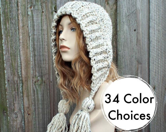 0c334efad07 ... Oatmeal Crochet Hat Women Hat Crochet Hood - Oatmeal Tassel Hat Ear  Flap Hat - Oatmeal