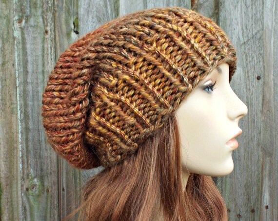 Chunky Knit Hat Women Fall Fashion Warm Winter Hat Knit Accessories - Adaline Slouchy Beanie Brown Hat Brown Beanie - READY TO SHIP
