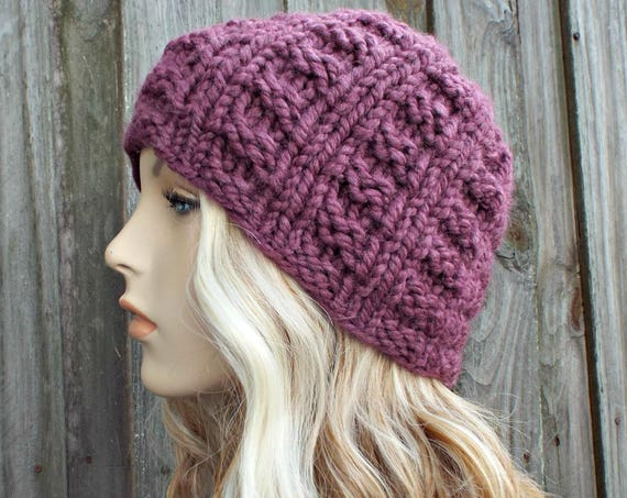 Fig Purple Knit Hat Purple Womens Hat Mens Hat - Purple Hat Purple Beanie - Winter Beanie Warm Hat - Waffle Beanie - READY TO SHIP