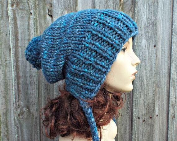 Dusk Blue Hat - Chunky Knit Hat Womens Pom Pom Hat - Slouchy Ear Flap Knit Blue Beanie - Charlotte - READY TO SHIP